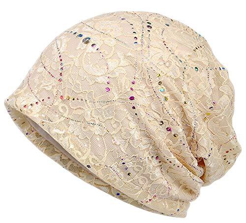 Qunson Womens Lace Flower Beanie Hat Cap Turban (Beige)