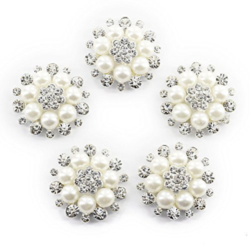 UEETEK 10pcs Faux Pearl Flower Buttons Embellishments for (Embellishments Pearls Flowers)
