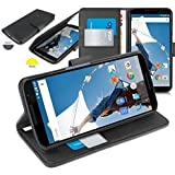 Orzly® - Multi-Function Wallet Case per Motorola NEXUS 6 ( COPERTINA con PORTAFOGLIO e SUPPORTO integrato ) - Custodia Protettivo con SONNO-SENSORI INTEGRATI e coperchio magnetico / Porafoglio NERO in effetto PELLE per GOOGLE NEXUS 6 SmartPhone ( 2014 Modello )