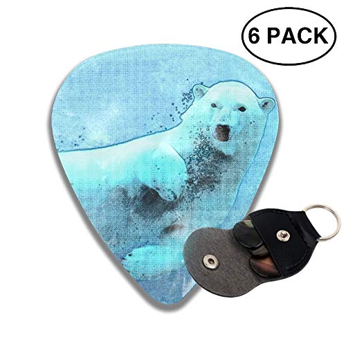 - Swimming Polar Bear Celluloid Guitar Picks 3 D Print Cool 6pcs 0.46mm 0.71mm And 0.96mm