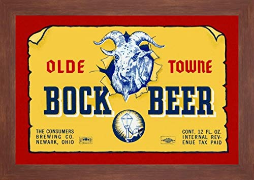 """Olde Towne Bock Beer by Vintage Booze Labels - 17"""" x 24"""" Framed Giclee Canvas Art Print Walnut Finish - Ready to Hang"""