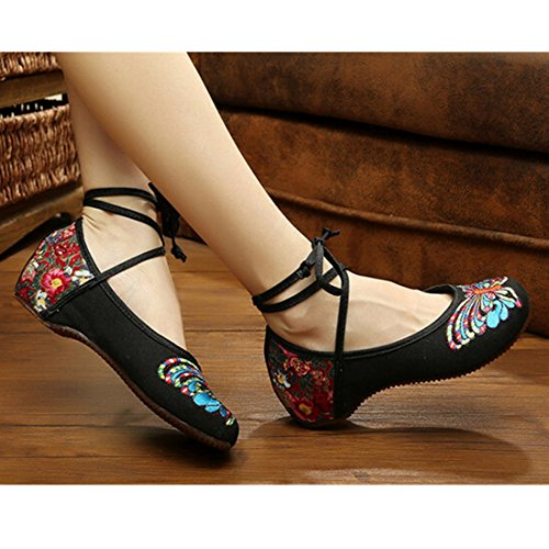 Chaussures Florales Chinoises Brodées Vintage Femme HUDIE Ballerines Mary Jane Ballerine Flat Ballet Cotton Loafer Noir