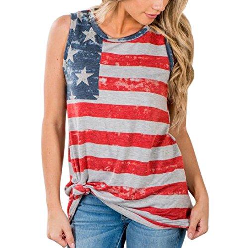 TOPUNDER American Flag Stripe Vest Women Asymmetrical V Neck Tank Top Sleeveless Shirt