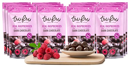 Tru Fru Dark Chocolate Dipped Freeze-Dried Fruit, 12-Pack Grab & Go, Raspberry by Tru Fru