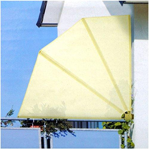 Großer Balkonfächer klappbar mit Wandhalterung 140x140 cm Farbe: Beige / Sand Balkon Sichtschutzfächer