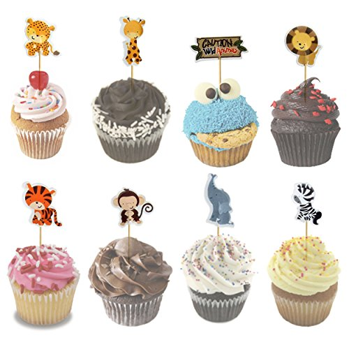 Jungle Animals Foil Latex Balloons Birthday Party Decorations Lion Tiger Monkey Zebra Giraffe Cow SAFARI ZOO Cupcake Toppers Pack of 34 by SAKIBO (Image #1)