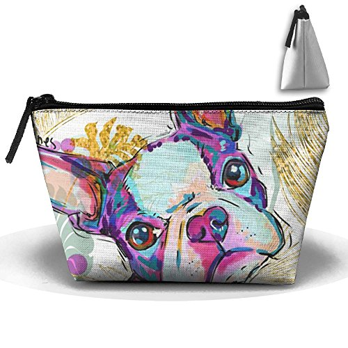 Terrier Zippered Tote - HTSS Boston Terrier Dog Portable Makeup Receive Bag Storage Large Capacity Bags Hand Bag Travel Wash Bag For Travel With Hanging Zipper