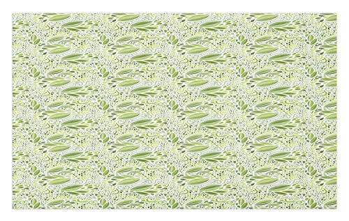Lunarable Abstract Doormat, Nature Theme Green Tone Monochrome Fantasy Floral Swirling Pattern with Dots Print, Decorative Polyester Floor Mat with Non-Skid Backing,30
