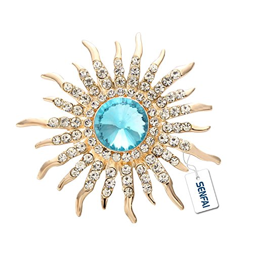 (SenFai Sun Brooch Rose Gold Plated Fine Jewelry Nickel Free Luxury Jewelry (Gold))