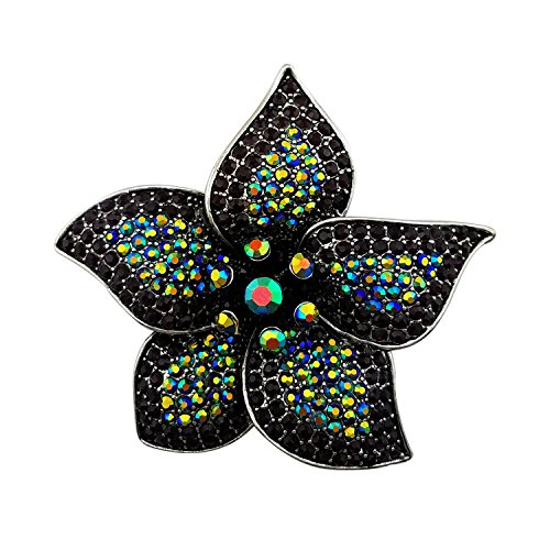 - Lanxy Vintage Big Flower Brooch For Women Black Austrian Crystal Brooch Pin