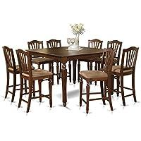 East West Furniture CHEL9-MAH-C 9-Piece Gathering Table Set