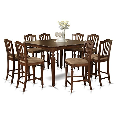 Gathering Counter Height Square Table - East West Furniture CHEL9-MAH-C 9-Piece Gathering Table Set