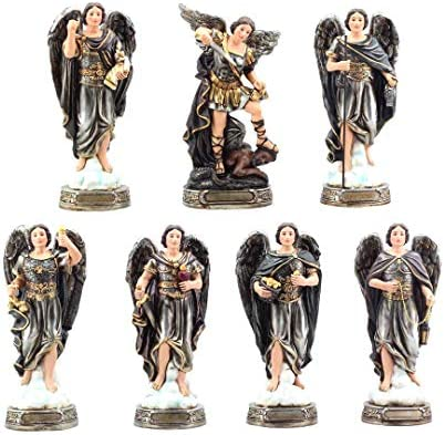 Gigi s Classy Kids 8 Inches Complete Set of All 7 Archangels Statues Siete Arcangeles Micheal Raphael Gabriel Box Religious Gift