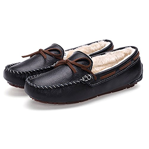 Casual Leather On Moccasins Driving Lined Black Flats Womens Slip Bowknot Meeshine Loafer Fur Shoes HAzRz4