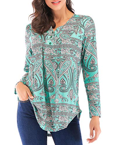 Miskely Women's Paisley Printed Short Sleeve Blouses V Neck Pleated Ruffle Casual Tunic Tops Shirt (XL, Long Sleeve Green)