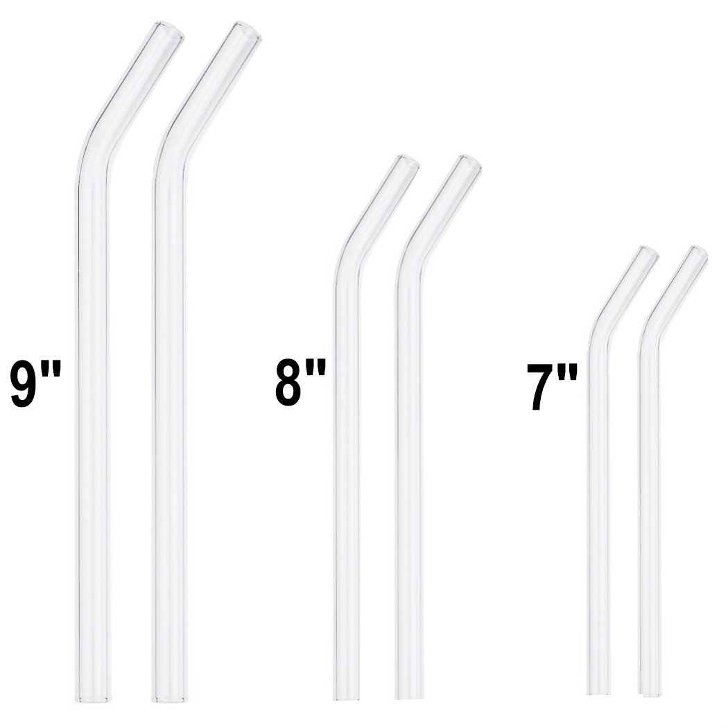 "GINOVO Set of 6 Transparent Glass Drinking Straws, 2x 9"", 2x 8"" , 2x 7"", Bent Handmade, Perfect Reusable Straw For Smoothies, Tea, Juice, Water, With 3pcs Cleaning Brush,"