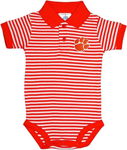 Tiger Striped Polo Shirt - Clemson University Tigers Newborn Striped Polo Bodysuit, Orange, 6-9 Months