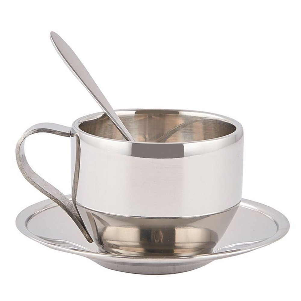 MyLifeUNIT Stainless Steel Coffee Cup Set, Double Wall Stainless Steel Coffee Mugs with Spoon and Saucer, 130 ml