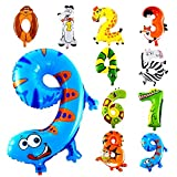 Funny Toyy 10Pcs Animal Number Foil Inflatable Balloons Wedding Happy Birthday Air Balloons Balloon Children's Gifts Inflatable Toy