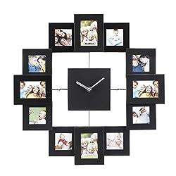 VonHaus 12 Picture Aluminum Decorative Photo Frame Wall Clock Black