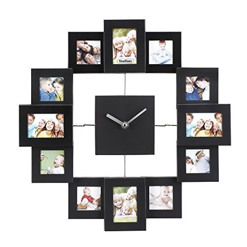 VonHaus 12 Picture Aluminum Decorative Photo Frame Wall Clock Black
