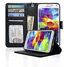 Navor Samsung Galaxy S5 / SV Book Style Folio Wallet PU Leather Case with Money Cards Pocket, Clear ID Window & Ultra Clear Screen Protector (Black)