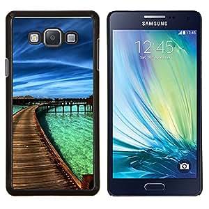 Paraíso del Caribe- Metal de aluminio y de plástico duro Caja del teléfono - Negro - Samsung Galaxy A7 / SM-A700