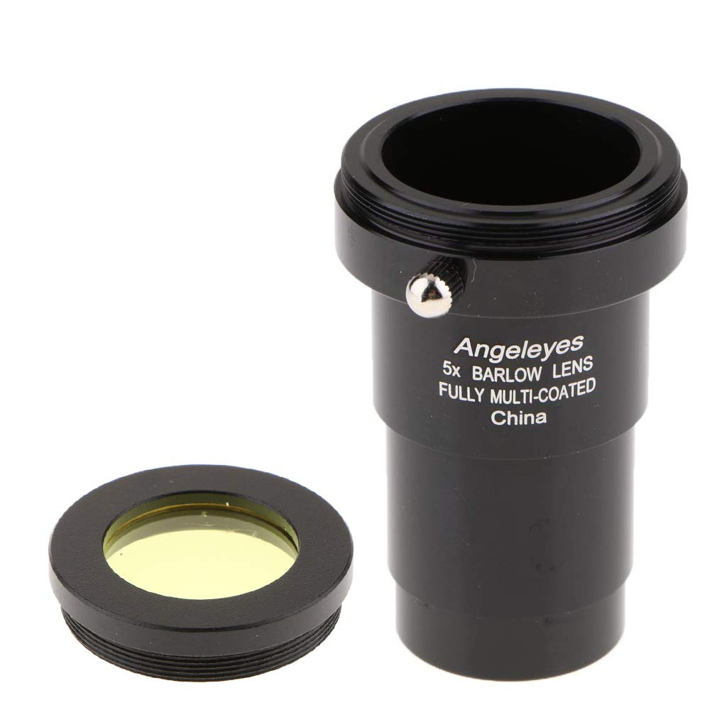 Baoblaze Telescope Eyepiece Barlow Lens for Celestron Orion 5X 1.25''/31.7mm Fully Multi-Coated Purple Film Universal T Ring Adapter + Moon Filter Yellow 9da4f80e94e6851df16059fa26466187