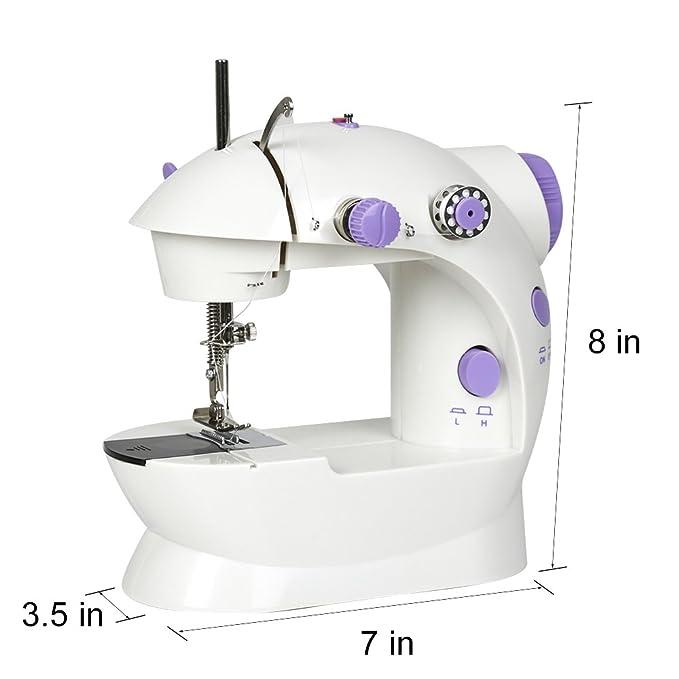 Tourwin - Mini máquina de coser portátil con 2 velocidades, ideal para principiantes, con adaptador europeo: Amazon.es: Hogar