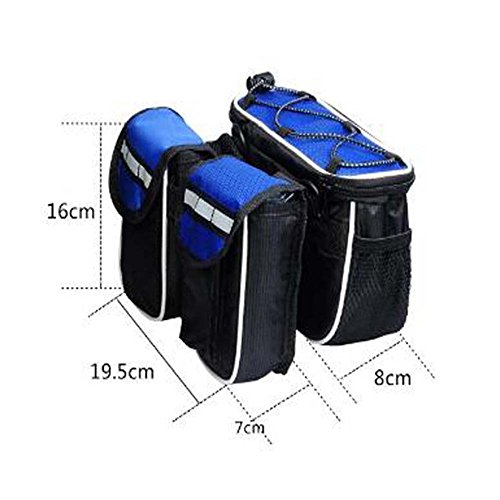 Wasserdichte Fahrrad Fahrradtasche Multifunktion Rahmen Top Tube Pannier Tasche für Berg Straße Fahrrad und Verstellbare Armband mit Regenschutzabdeckung Blau