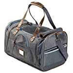 Next Level Pet Soft Sided Carrier, Grey with Brown Leather, Small Dog & Cat Approved