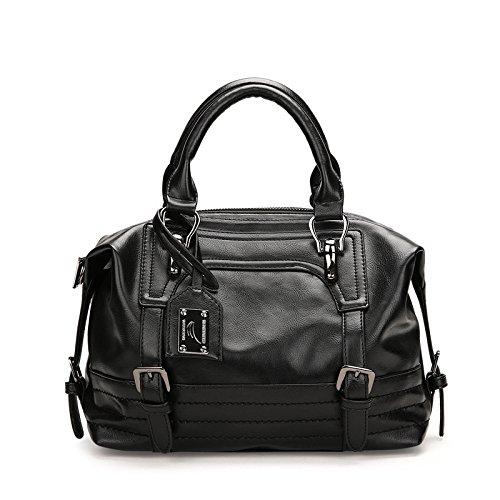 RENHONG Señoras PU Cuero De Cera De Aceite (Marrón Gris Rosa Negro) Bolso De Hombro De La Vendimia Messenger Bag,Pink-28 * 13 * 20cm Black