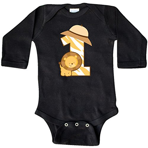 Jungle Bodysuit - inktastic - Safari 1st Birthday Jungle Long Sleeve Creeper 12 Months Black