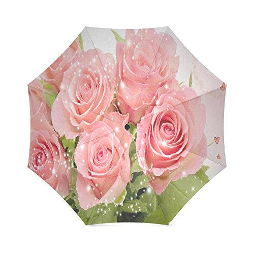 (Fashion Beautiful Valentine's Day Pink Rose Folding Windproof outdoor Travel Umbrella for Women)