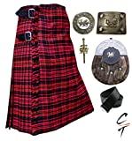 CT Men's Scottish 8 Yards 16oz Kilt Macdonald Tartan Acrylic Wool Kilts Outfit Set 6 Pieces (46'')