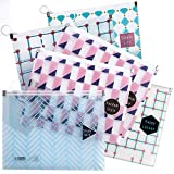 File Zipper Bag, Zip Document Pouch for Home, School, Travel | Multi-Purpose Stationery Organizer, Waterproof Storage Bags, Translucent Material, 6 Pack with Cute Prints, Assorted Colors | A5 Size