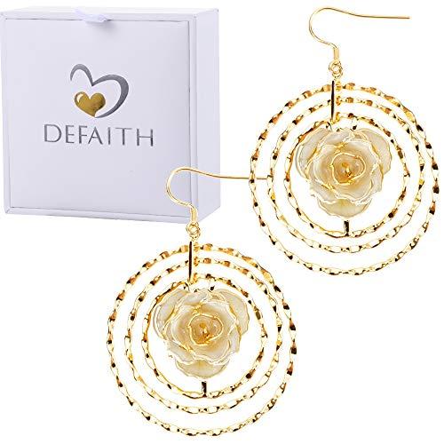 DEFAITH 24K Gold Dipped Rose Earrings - Made of Fresh Rose, Last Forever - Best Anniversary Gift for Her (Ivory)