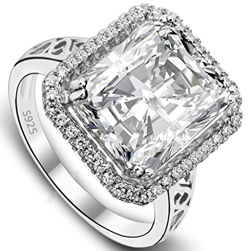 EVER FAITH Women's 925 Sterling Silver 5 Carat Radiant Cut CZ Engagement Ring Clear - Size 7