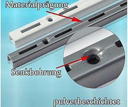 1-reihig Wei/ß Regalhalter Wandregal Regalbodentr/äger Regal Regalwinkel PRIOstahl/® WANDSCHIENEN f/ür REGALTR/ÄGER 2000 mm 2 x SCHIENEN