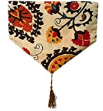 Yoovi Reversible Table Runner Ethnic Floral, Cotton and Linen Blend (11.8'' X 78'')