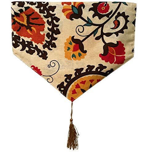 Yoovi Reversible Table Runner Ethnic Floral, Cotton and Linen Blend (11.8'' X - Medallion Table