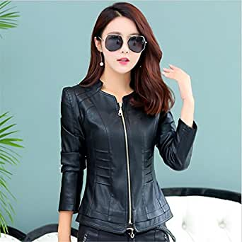 YHQYZZ Ladies Leather Jacket 2018 Short Slim Jacket Leather Woman Autumn Womens Outerwear Big Size 5XL Black XL