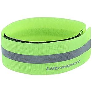 Ultrasport Banda reflectante; banda de reflejo de luz con velcro para mayor seguridad en cualquier actividad outdoor, amarillo neón 21
