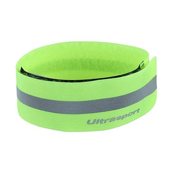 Ultrasport Banda reflectante; banda de reflejo de luz con velcro para mayor seguridad en cualquier actividad outdoor, amarillo neón 1