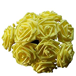 SUIE 10pcs Fake Artificial Foam Real Touch Rose Flowers Bouquets Rose Bridal Wedding Bouquet 11 Colors (Yellow) 57