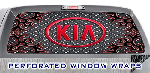 ITI Global Designs KIA 006 Window WRAP : Metal Black Diamond Plate Red Tribal Swirl : Truck Car Rear Decal Sticker ()
