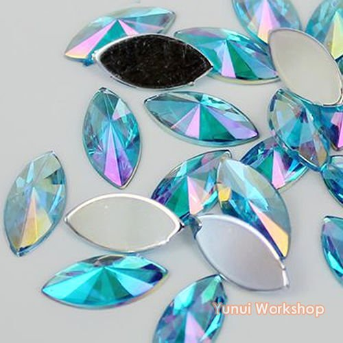 (Lake Blue AB, 5mm x 10mm, 200pcs) Horse Eye Shape Pointed Face Acrylic Flat Back Navette Rhinestones Scrapbooking Nail Art Craft