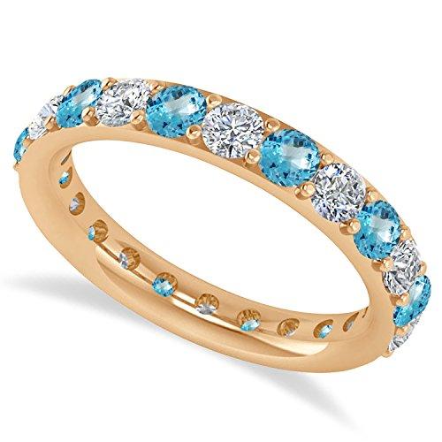 - OMEGA JEWELLERY 14K Rose Gold Round Diamond & Blue Topaz Full Eternity Wedding Band (2.00 Ct)
