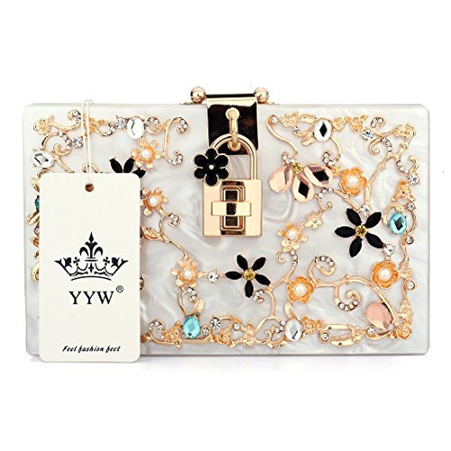 Shoulder White Evening Flower Lock Women's Crystal Diamante Beaded with Bag Acrylic Clutch Handbag Pearl Pearl Evening ZUwICnqxPp