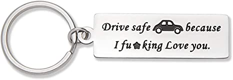 Home On Time We Love You Have Fun Be Safe Keychain Gift for New Driver Graduation Keychain Gifts Teenage Driver Keychain